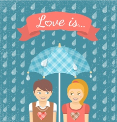 Boy and girl in love under checkered umbrella vector