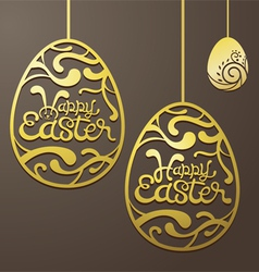Gold easter eggs decorate vector