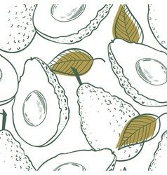 Outline seamless pattern with avocado vector