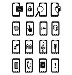 Mobile phones icons set vector