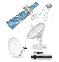 set icons satellite broadcasting vector image