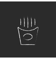 French fries icon drawn in chalk vector