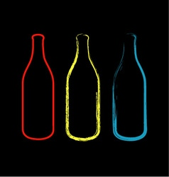 Bottles with artistic effects vector