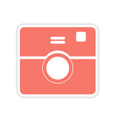 Paper sticker on white background camera vector