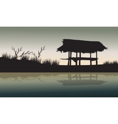 Old hut in the fields silhouette vector