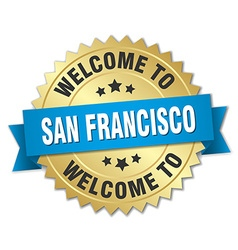 San francisco 3d gold badge with blue ribbon vector