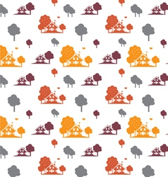 Seamless autumn village vector