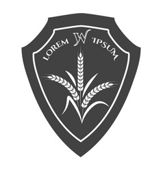 agriculture crest with wheat branches vector image