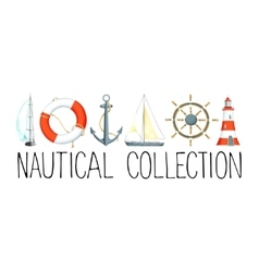 Banner with nautical elements vector