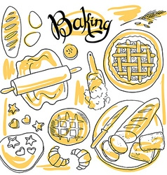 beautiful hand-draw set of baking vector image