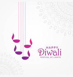 Beautiful happy diwali card design with hanging vector
