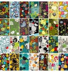 Big set of vertical cards with birds and flowers vector