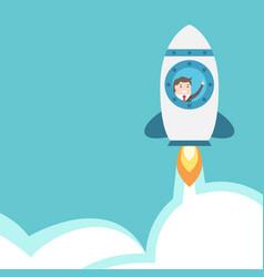 businessman flying in rocket vector image vector image