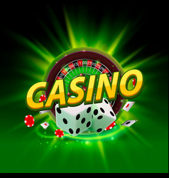 casino dice roulette banner signboard vector image vector image