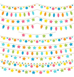 Collection of colorful garland lights vector image
