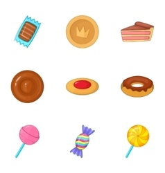 Confectionery and desserts icons set cartoon style vector