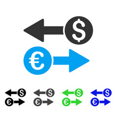 Currency transfers flat icon vector