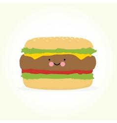 Cute cartoon burger vector