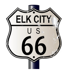 elk city route 66 sign vector image