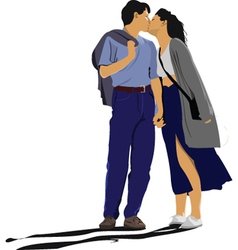 first kiss vector image