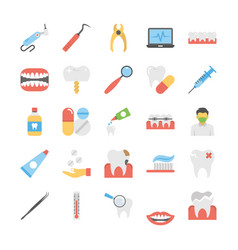Flat icons set of dental icons vector