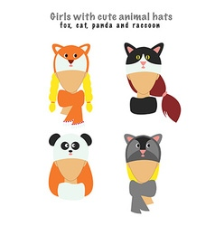 four girls with cute animal hats on vector image