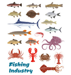 fresh fish catch icons for fishery industry vector image vector image