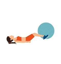 girl training ball fitness stretching vector image