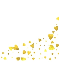Gold glittering foil hearts on white background vector image vector image