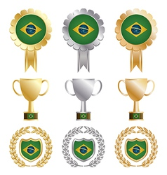 gold silver and bronze brazil vector image