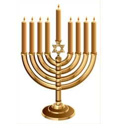 Hanukkah candleholder with 9 candles candlestick vector