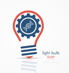 Light bulb idea icon with gear and dna icon vector