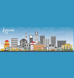 lugano switzerland skyline with gray buildings vector image vector image
