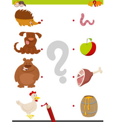 Match animals and food game vector