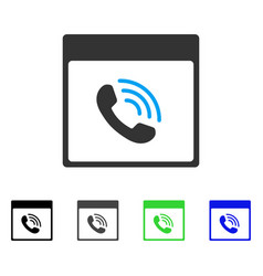 Phone call calendar page flat icon vector