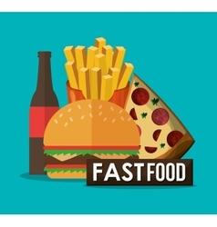 Pizza hamburger and fast food design vector