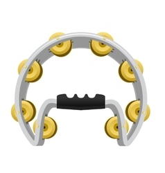 Realistic tambourine isolated on white background vector