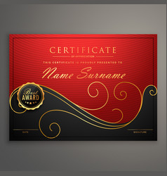 red and black luxury certificate design template vector image vector image