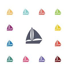 Sail boat flat icons set vector