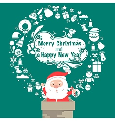 Santa Vintage Christmas card Celebration backgroun vector image vector image