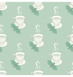 Tea mugs with mint seamless patern vector image