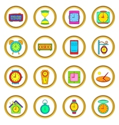 Time and Clock set cartoon style vector image vector image