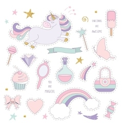 Unicorn magic set with rainbow stars and sweets vector