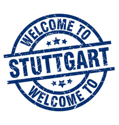 Welcome to stuttgart blue stamp vector