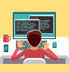 young man programmer working on computer with code vector image vector image