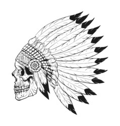 Monochrome of stylized skull wearing native vector