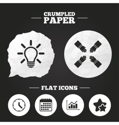 Lamp idea and clock time graph chart diagram vector
