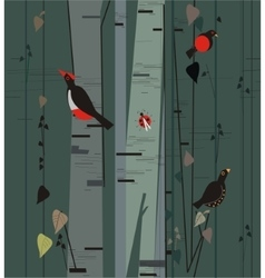 Birch grove with birds vector