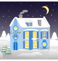 Christmas house on a background of winter night vector