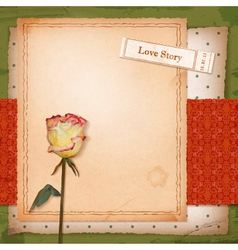 Scrapbook old paper background with dried rose vector